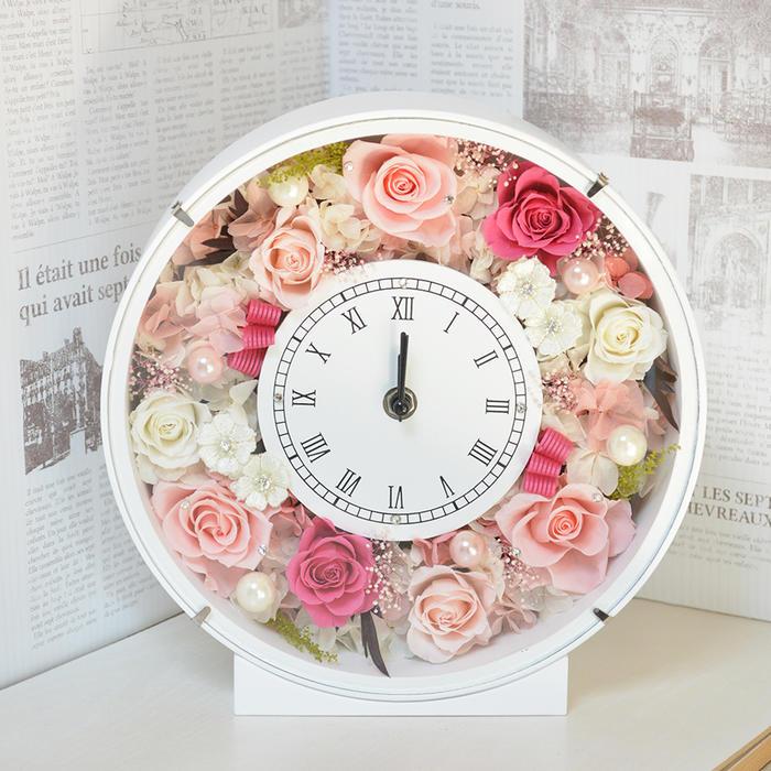 プリザーブドフラワー 時計 スワロフスキー付 ホワイト&ピンク フラワーギフト 花 贈り物 プレゼント 開店祝い 引越し祝い 開業祝い 結婚祝い ギフト 誕生日 置き時計 退職祝い 古希 還暦 白寿 米寿 新築祝い バラ 薔薇