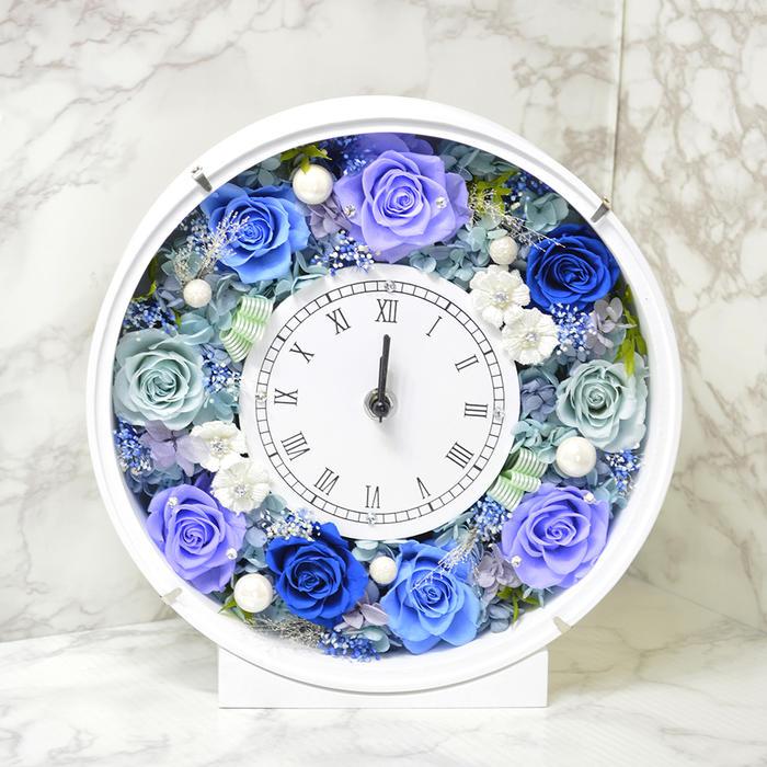 プリザーブドフラワー 時計 スワロフスキー付 ブルー 神様の祝福 花 贈り物 プレゼント 開店祝い 引越し祝い 開業祝い 結婚祝い ギフト 誕生日 置き時計 退職祝い 古希 還暦 白寿 米寿 新築祝い バラ 薔薇