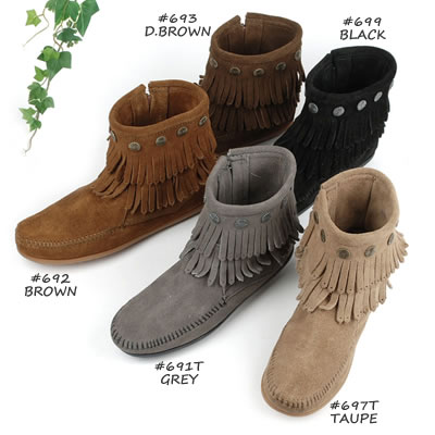MINNETONKA   Minnetonka * * ダブルフリンジサイドジップ short boots DOUBLE FRINGE SIDE  ZIP BOOT ( 693     699     692 and 691 T    697T ) 7ddd64f5dfdf