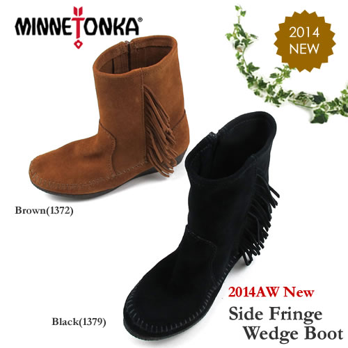 【S】MINNETONKA ミネトンカ サイドフリンジウェッジブーツSide Fringe Wedge Boot#1372 / #1379 〔SK〕【コンビニ受取対応商品】