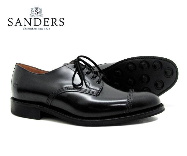 SANDERS サンダース Military Derby Shoe ミリタリー ダービー シュー 1128B ブラック メンズ ストレートチップ キャップトゥ ビジネスシューズ〔FL〕【あす楽】