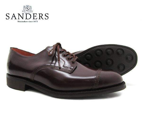 SANDERS サンダース Military Derby Shoe ミリタリー ダービー シュー 1128R バーガンディー メンズ ストレートチップ キャップトゥ ビジネスシューズ〔FL〕【あす楽】