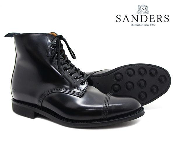 SANDERS サンダース Military Derby Boot ミリタリー ダービー ブーツ 1595B ブラック メンズ ストレートチップ キャップトゥ 〔FL〕【あす楽】