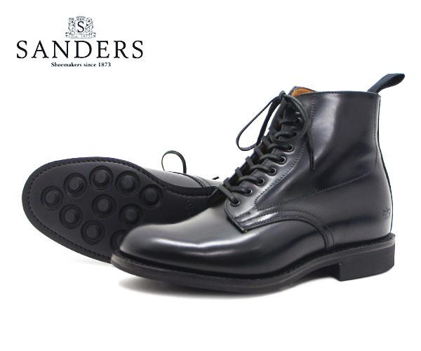 【お手入れ用山羊毛ブラシプレゼント中♪】SANDERS サンダース レディース Military Derby Boot ミリタリー ダービー ブーツ 1615B ブラック プレーントゥ〔FL〕【あす楽】