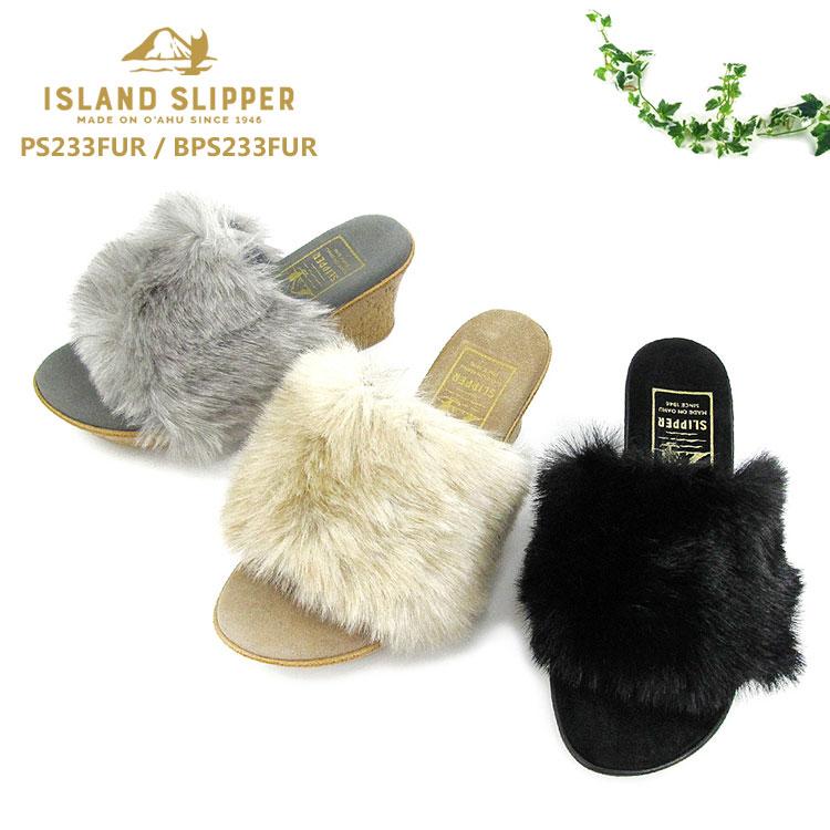 【shoes20】【期間限定!20%OFFクーポン発行中】アイランドスリッパ ISLAND SLIPPERレディース ウェッジソール サンダル ファー スェード レザーPS233FUR / BPS233FUR〔SK〕