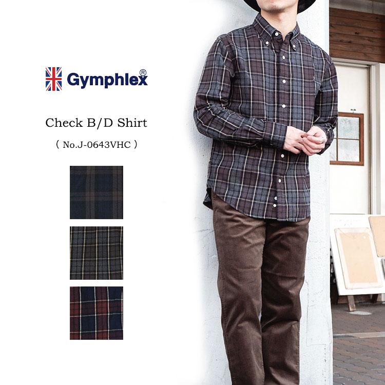 【S】GYMPHLEX ビエラ起毛 チェック柄 B/Dシャツ メンズ #J-0643VHCジムフレックス フランネルシャツ チェック〔SK〕