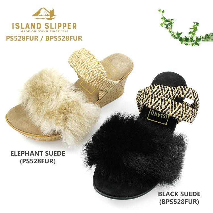 アイランドスリッパ ISLAND SLIPPERレディース ウェッジソール ストラップ サンダル ファー スェード レザーPS528FUR / BPS528FUR〔SK〕