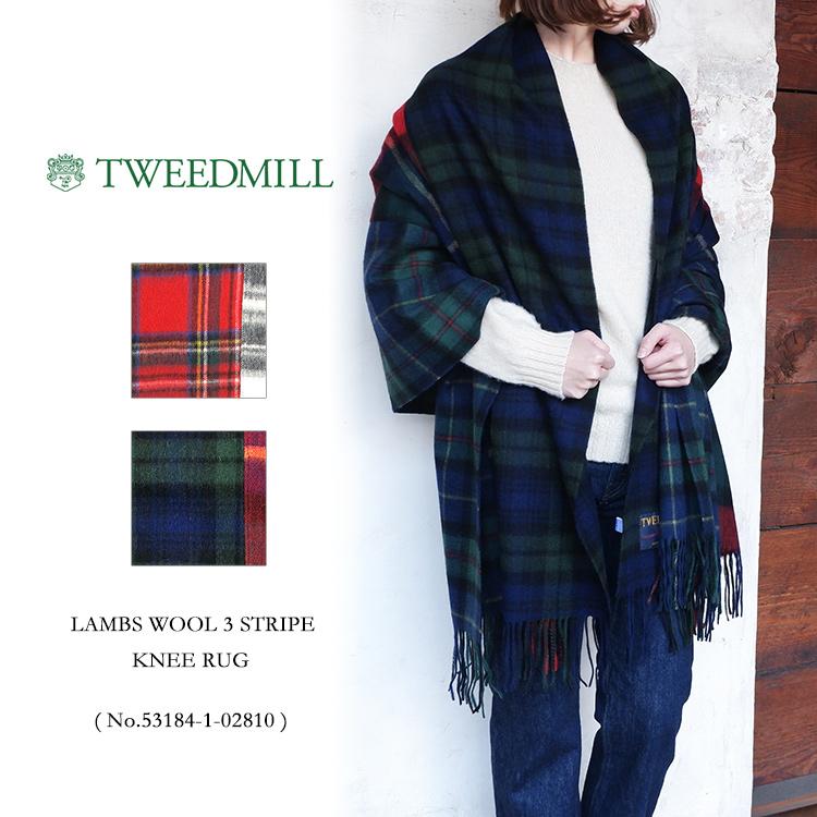 【S】TWEEDMILL LAMBS WOOL 3 STRIPE KNEE RUGツイードミル マフラー ストール チェック〔SK〕