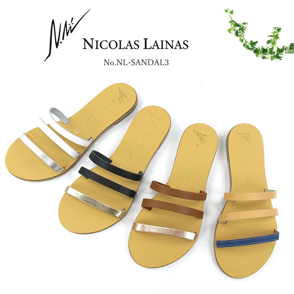 【SALE品交換・返品不可】NICOLAS LAINAS ニコラスライナス レザーミュールサンダル #03 〔SK〕