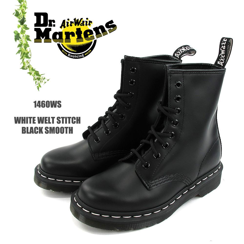 Dr.Martens ドクターマーチンWHITE WELT STITCH BLACK SMOOTH #1460WSホワイトウェルト 8ホール ブーツ スムースレザー レディース〔SK〕