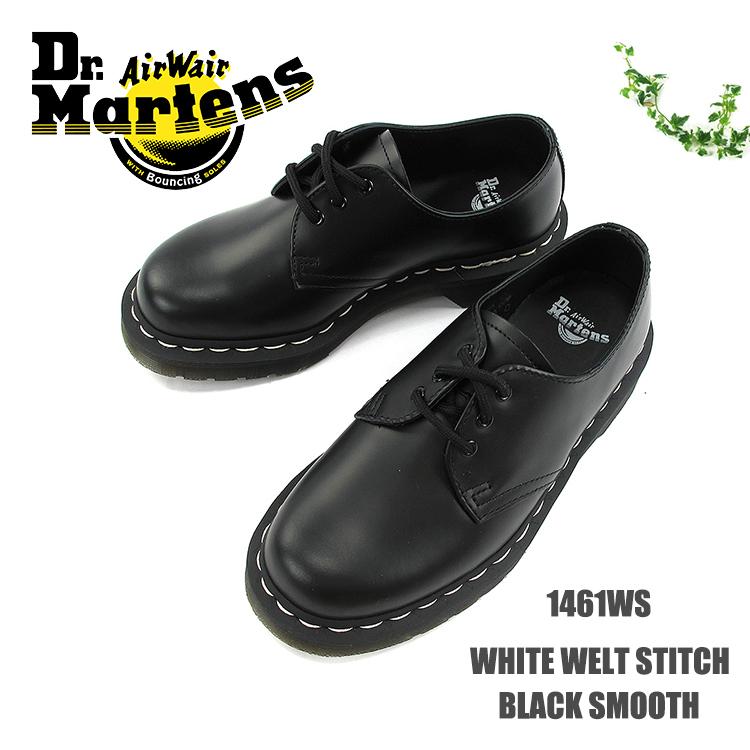 Dr.Martens ドクターマーチンWHITE WELT STITCH BLACK SMOOTH #1461WSホワイトウェルト 3ホール レザーシューズ スムースレザー レディース〔SK〕