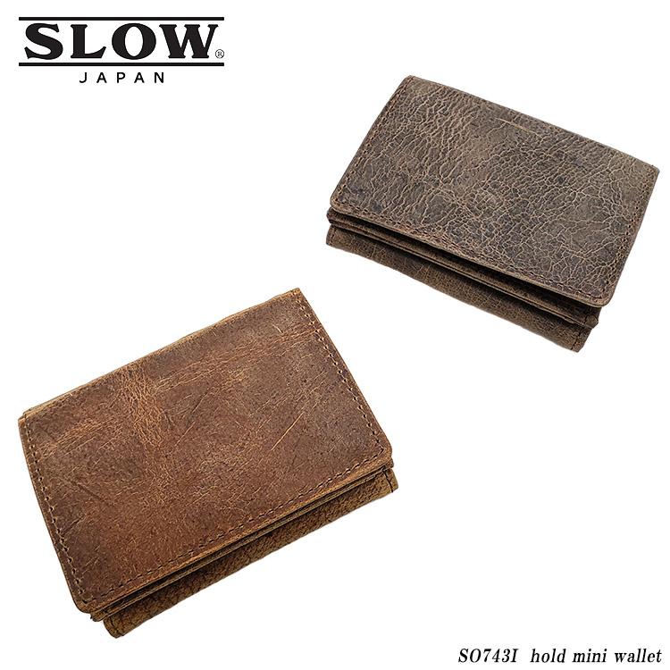 レザー mini SO743I KUDU スロウ hold 3つ折り財布 革財布 メンズ ブラウン wallet LEATHERシリーズ SLOW