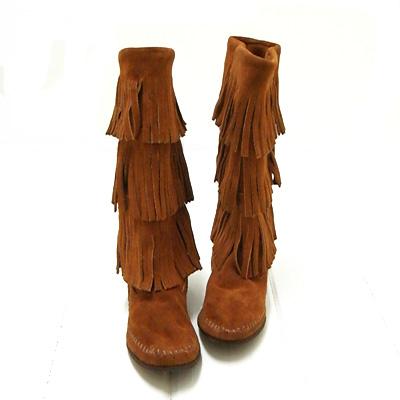 【S】【国内正規品】**ミネトンカ MINNETONKA モカシン**(#1632)Women's 3-Layer Fringe Boot3段フリンジブーツCALF HI 3-LAYER FRINGE BOOTブラウンスェード