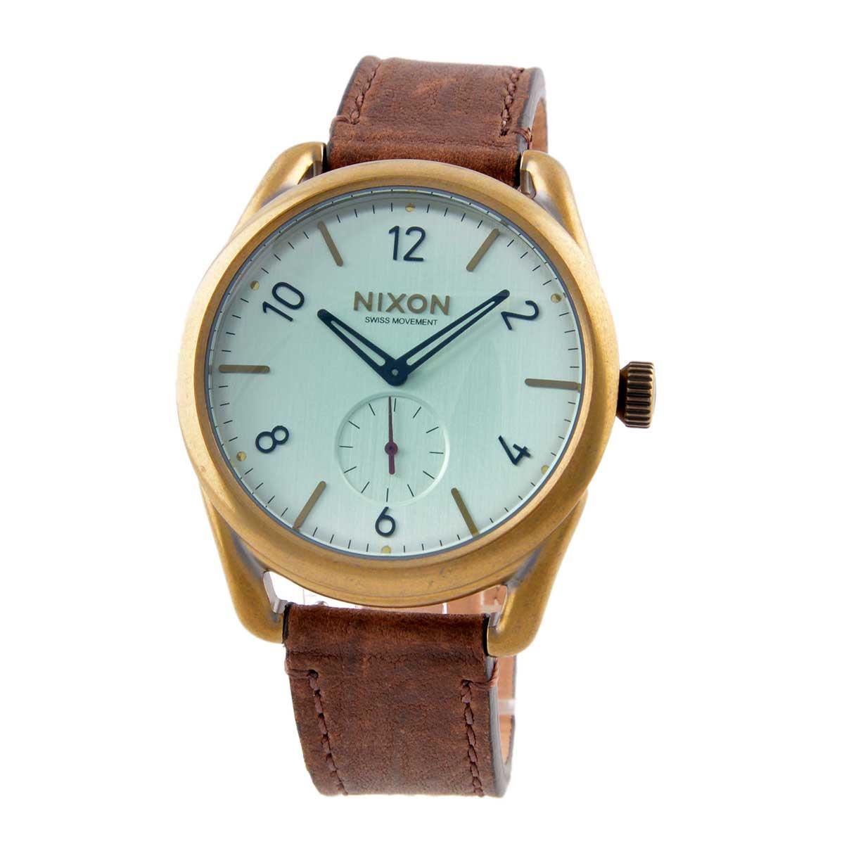 ニクソン NIXON THE C39 LEATHER レザー ブラス グリーンクリスタル ブラウン A459-2223 A4592223 NA4592223 ユニセックス メンズ レディース 腕時計 時計 [ 送料無料 ]