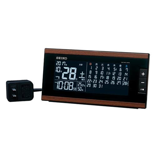 送料無料 プレゼントにおすすめ 時計と雑貨の通販サイトFLOAT セイコークロック 爆売り デジタル 交流電源 置時計 電波時計 湿度表示 アラーム DL212B 正規品 フルオートカレンダー 日本産 温度 SEIKO
