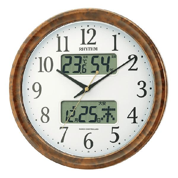 今だけ限定15%OFFクーポン発行中 送料無料 プレゼントにおすすめ 時計と雑貨の通販サイトFLOAT リズム時計 ピュアカレンダー 2020新作 掛時計 木目調 電波時計 4FY617SR23 六曜表示 温湿度表示 正規品 RHYTHM