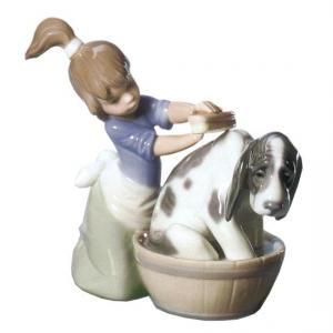 リヤドロ人形【リヤドロ】きれいにしましょうね5455/リヤドロ犬と少女【結婚祝】【出産祝】【退職祝】【引越祝】【還暦祝】【記念品】