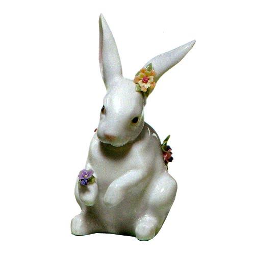リヤドロ人形【リヤドロ】6100花飾りの白兎(4)/リヤドロ 動物【結婚祝】【出産祝】【退職祝】【引越祝】【還暦祝】【記念品】