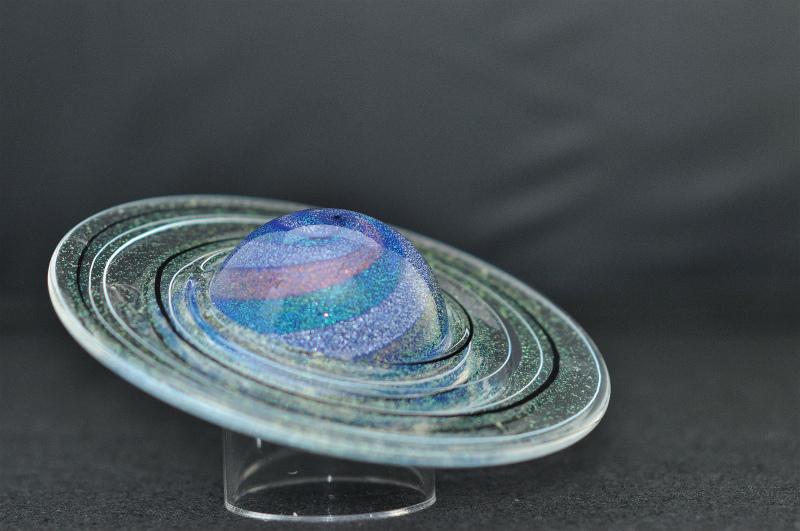 LEDインテリアライト【Rings of Saturn - 土星の環 -】天体シリーズフロアライト 間接照明-グラス・アイ・スタジオ【結婚祝】【出産祝】【退職祝】【引越祝】【還暦祝】【記念品】