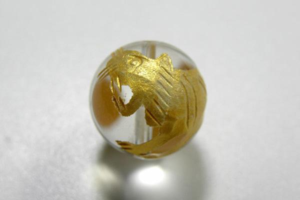 天然石 安全 全商品オープニング価格 水晶四神 白虎 10mm玉 彫 石 金色 パワーストーン gold-bya10