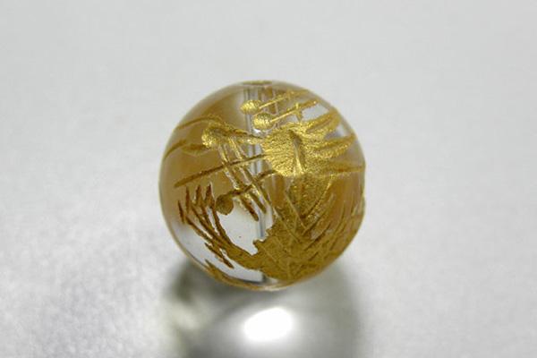 天然石 水晶四神 青龍 12mm玉 (彫 金色) gold-sei12 ( 石・天然石・パワーストーン )