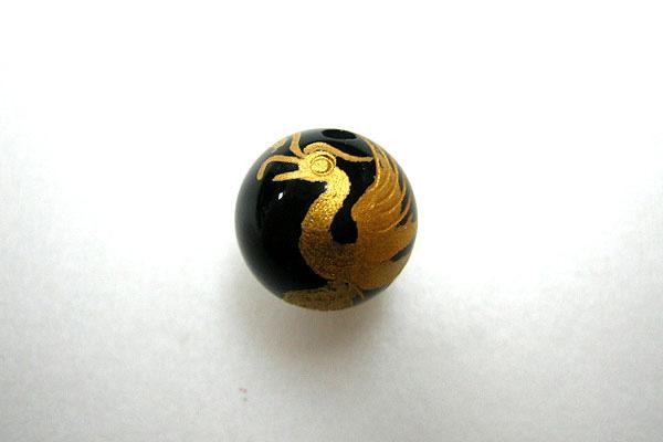 天然石★ 手彫りオニキス四神 朱雀 (彫 金色) 12mm玉 1個 o-su12 ( 石・天然石・パワーストーン )