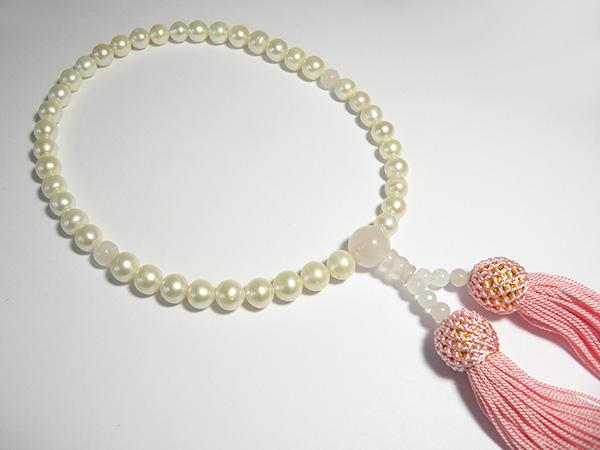 淡水パール 数珠(念珠)、主珠 7ミリ 41玉、人 絹、jy-020、(略式数珠 女性用)