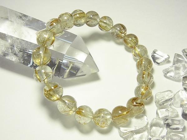 太金針水晶(タイチンルチル)プレミアムブレスレット、直径約10mm、20粒、内径約16cm、taichin-03 (石・天然石・パワーストーン)