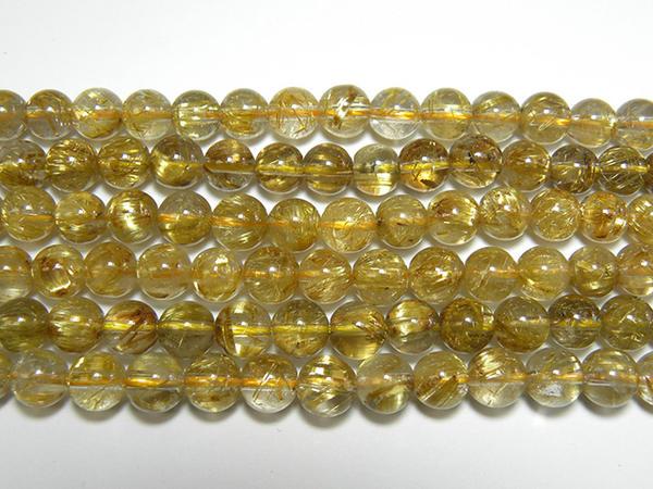 天然石7mm half-pa0804 タイチンルチル(金太針水晶)プレミアム丸玉 半連 約18-20cm(石・天然石・パワーストーン)