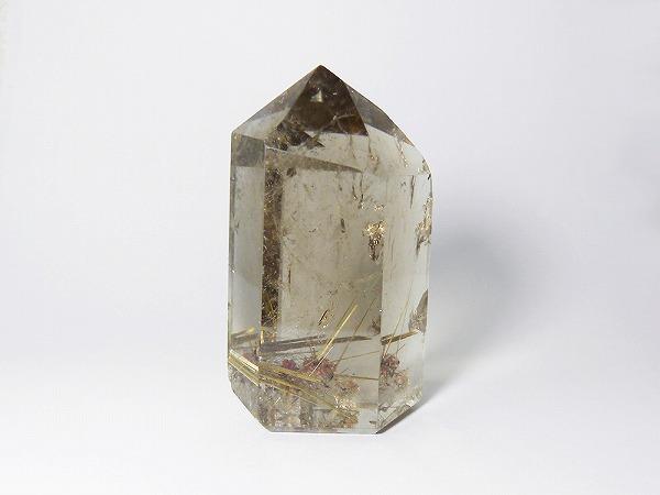 ゴールドルチル入り スモーキークォーツポイント プレミアム置物、約35×34×高65mm、rutil-point-01(天然石 ・パワーストーン )