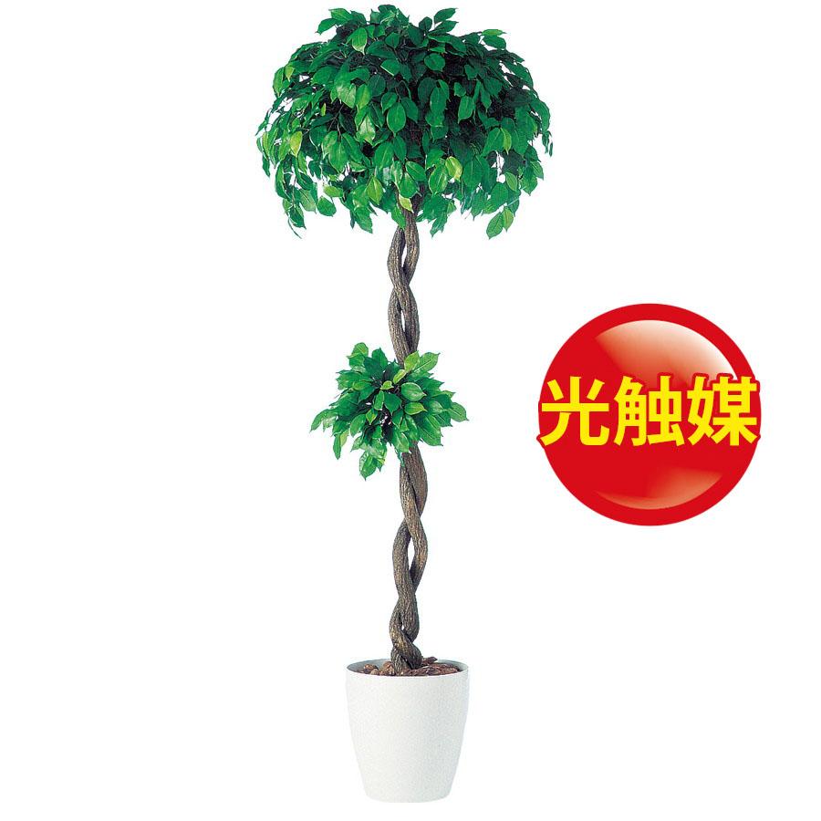 人工観葉植物  光触媒 フィッカスベンジャミナダブル 150(器:RP-300)91237|フェイクグリーン イミテーション インテリア 開店祝 オフィス 観葉植物 大型 観葉植物 おしゃれ 観葉植物 インテリア 《2018ds》