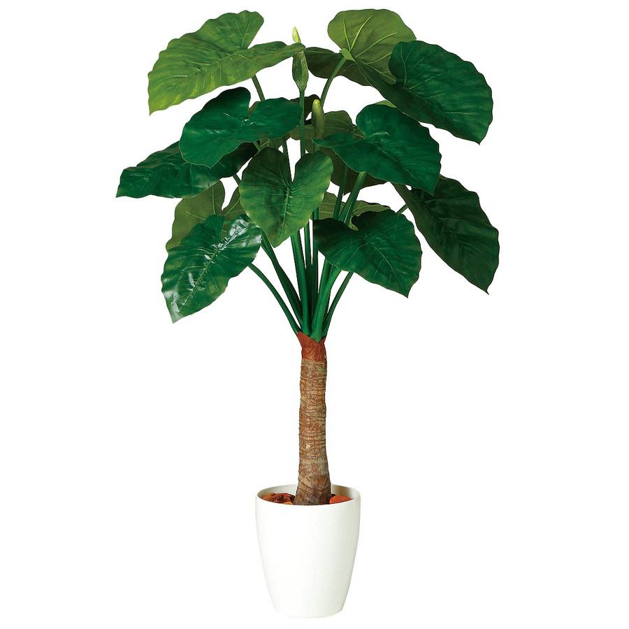 スーパーSALE10%OFF対象 人工観葉植物 クワズイモ シングル 130 (器:RP-225) 98863|フェイクグリーン イミテーション インテリア オフィス 店舗 造花 観葉植物 大型 観葉植物 おしゃれ 観葉植物 インテリア 《2018ds》