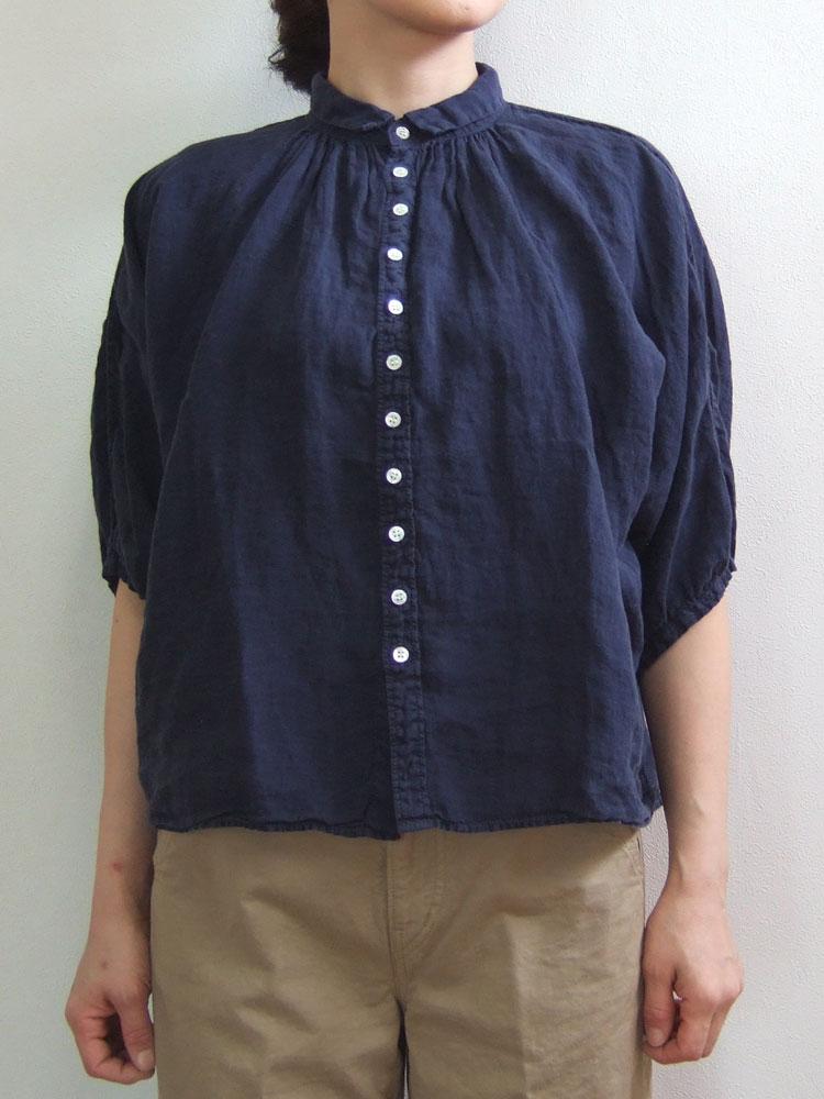 Brocante ブロカント ドミンゴ 38-042L 29 グランシャツ ネイビー リネンキャンバス 麻 ドルマン ギャザー 5分袖 送料無料 MadeinJAPAN 日本製