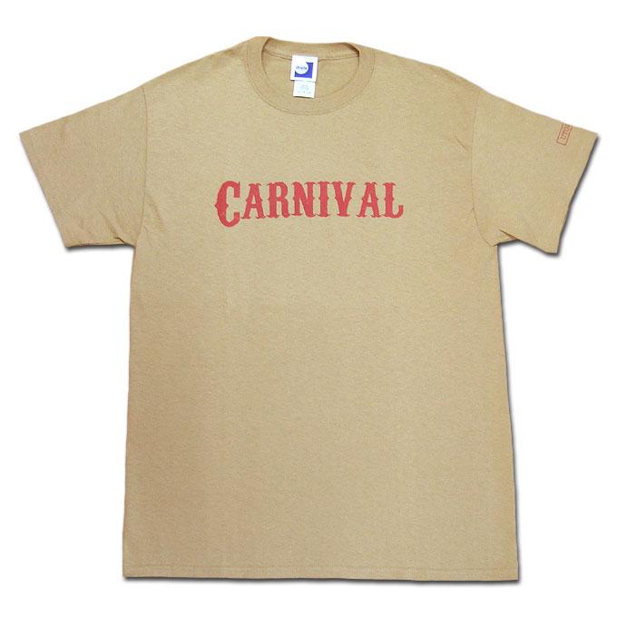 シンプルなクルーネックのプリントTシャツ 6ozのしっかりした生地感 信憑 メール便 utopia CARNIVAL TEE タン ベージュ 半袖 Tシャツ クルー 超激安 カットソー