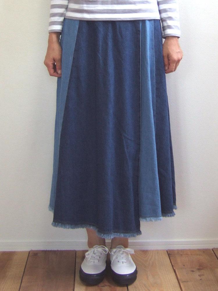 D.M.G ドミンゴ DMG 17-404E 27-5 デニムパネルスカート 8ozデニム ロングスカート コットン フレア MadeinJAPAN 倉敷 児島 日本製
