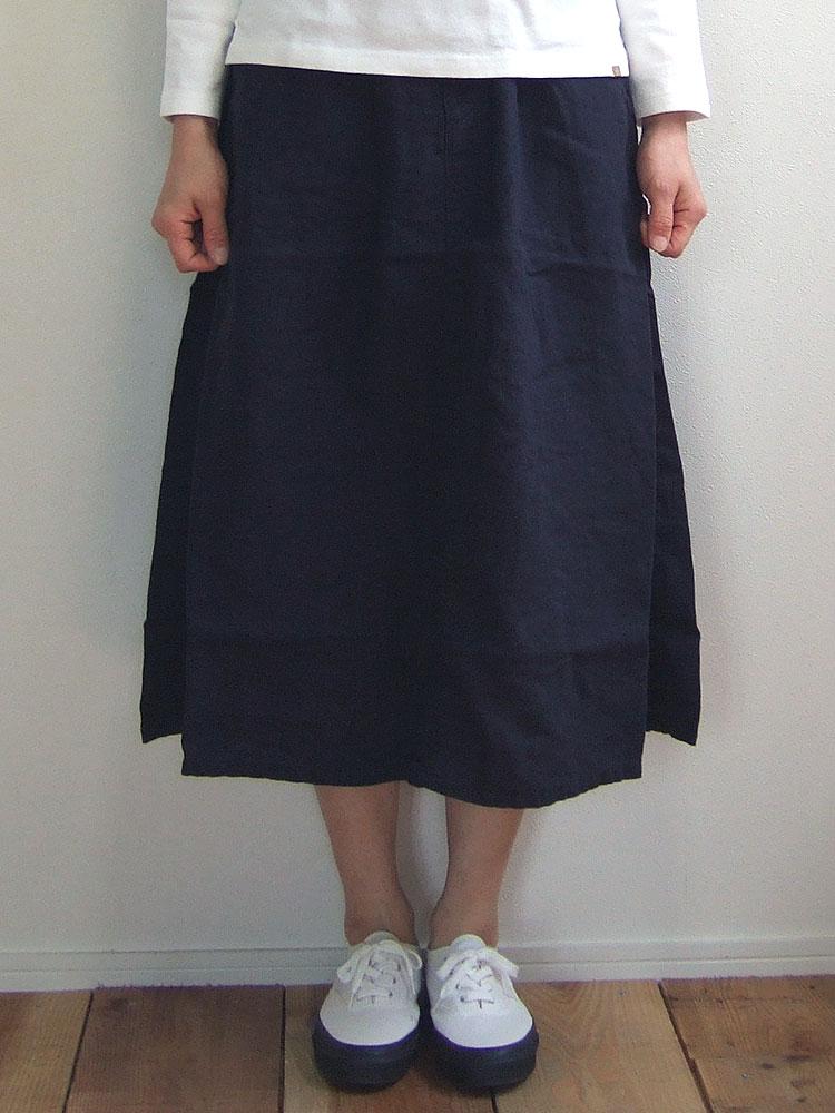 D.M.G ドミンゴ DMG 17-358L 29-2 イージータックスカート ネイビーブルー リネンキャンバス 麻 リネン MadeinJAPAN 日本製