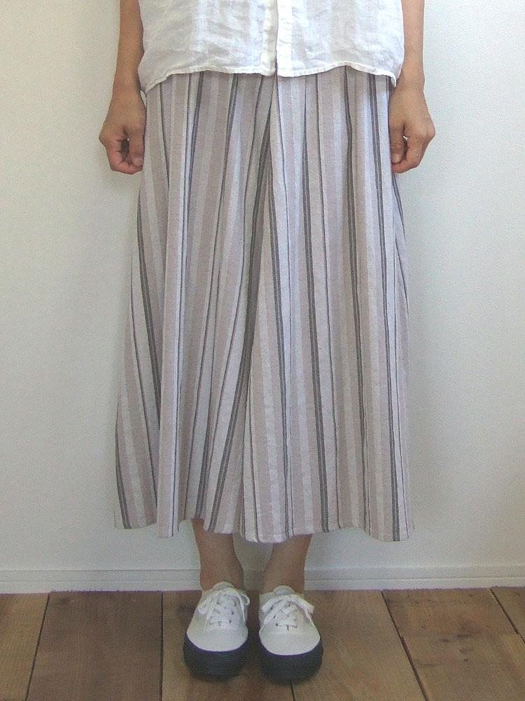 ナチュラルテイストのロングスカート 麻×綿で風合いも Quand クアンド リネンコットンストライプスカート 贈答 限定タイムセール ベージュ ロングスカート skirt 211937581