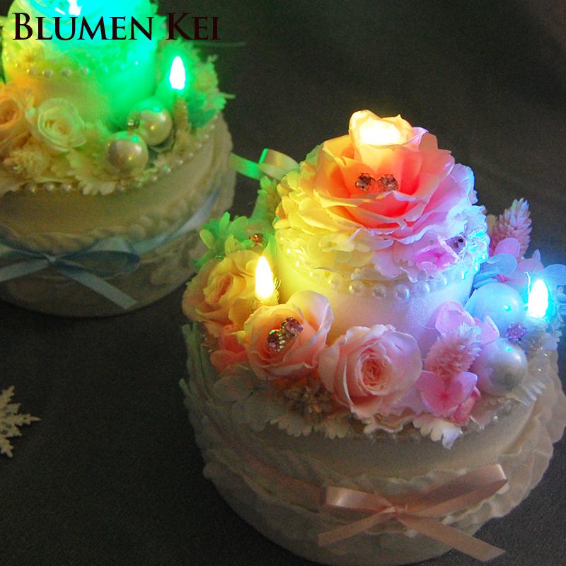 Flower K Preserved Flower Cake 2 Stage Light Same Day Shipping