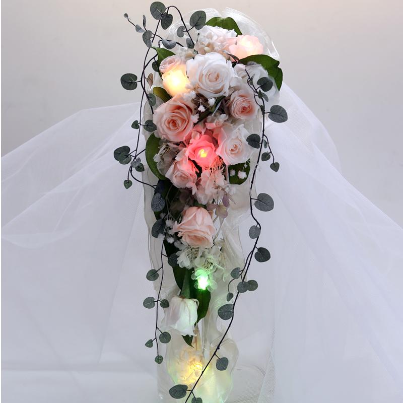 プリザーブドフラワー 光る キャスケードブーケ/ メッセージカード付き 結婚式 2次会 サプライズ ウエディング パーティ プリザーブドフラワー ブーケ プリザーブドフラワー ブーケ プリザーブドフラワー ブーケ プリザーブドフラワー ブーケ