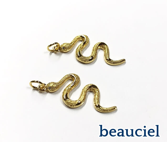 ヘビがキラキラかっこいい 和風アクセにも☆ 1個 蛇のチャーム ゴールド 目玉部分キュービックジルコニア 本体真鍮製 ブランド激安セール会場 スネーク 割引も実施中 ヘビ