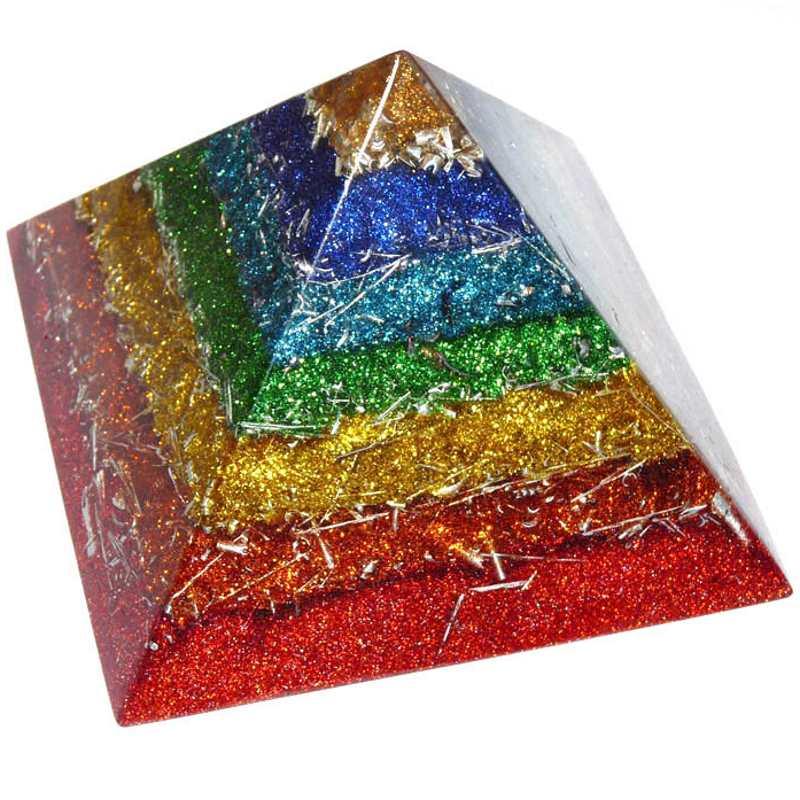 ボヘミアンオルゴナイト チャクラピラミッドオブジェ 《オルゴナイト》 14×10cm 空間がパワースポットになるオルゴナイト スピリチュアルの国チェコの正規輸入品 [ヒーリングアイテム/パワーストーン/天然石/癒やしグッズ/ピラミッド]