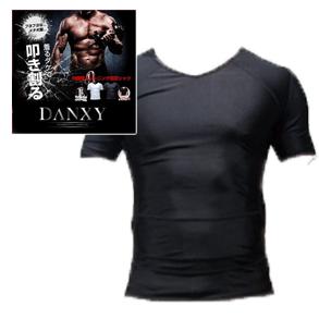 送料無料☆3個セット DANXY 筋力サポート加圧シャツ ブラックMサイズ/男性インナーシャツ 着圧 補正下着 健康