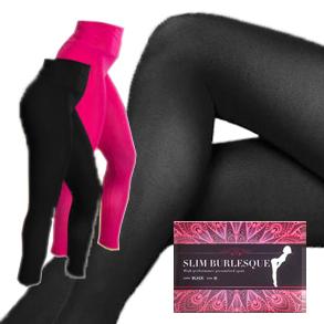 SLIM BURLESQUE スリムバーレスク Mサイズ ブラック送料無料3個セット/補正 着圧 レギンス ダイエット 美容 健康