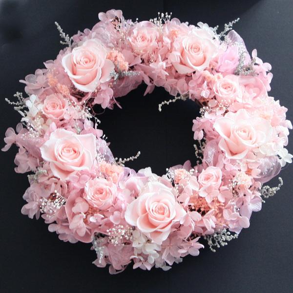 プリザーブドフラワー リース【桜ピンクのリース】ウェルカムリース 結婚祝い ブライダル 結婚式 新築祝い 引越し祝い ギフト 誕生日プレゼント 退職祝い