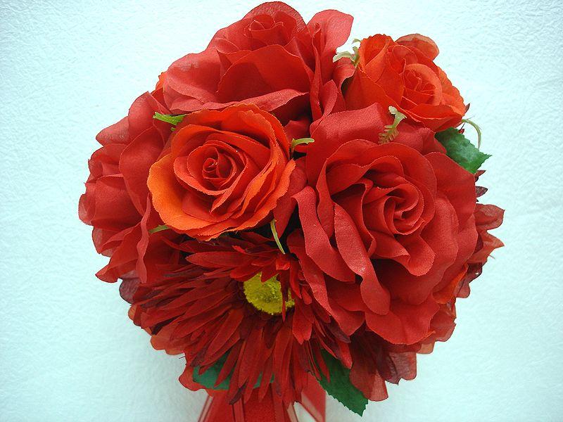 ブートニアも無料でお付けいたします 造花で作るウェディングブーケ 永遠に思い出を残しませんか セール ウェディングブーケ ギフ_包装 レッド089 結婚式 ウェディング 特価キャンペーン トスブーケ 二次会 ブートニア ブーケ ブライダル