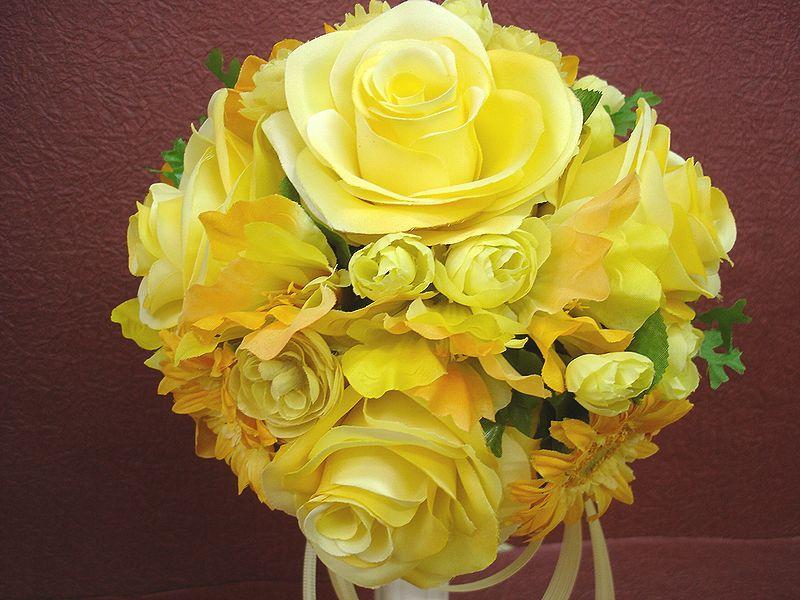 ブートニアも無料でお付けいたします 造花で作るウェディングブーケ 永遠に思い出を残しませんか ウェディングブーケ 再入荷 予約販売 イエロー166 結婚式 ウェディング ブーケ ブートニア 二次会 当店一番人気 トスブーケ ブライダル