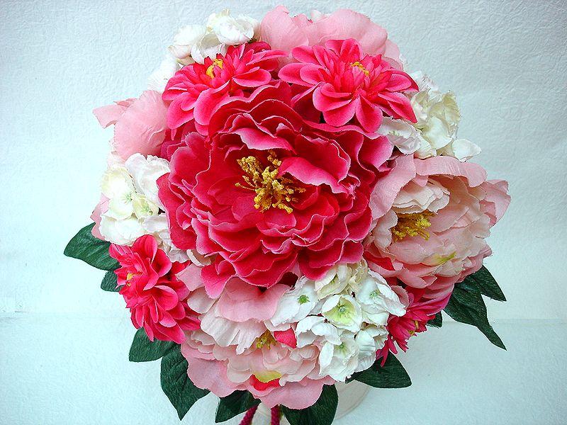 ブートニアも無料でお付けいたします 造花で作るウェディングブーケ 永遠に思い出を残しませんか ウェディングブーケ ピンク180 店内全品対象 結婚式 トスブーケ ブートニア ウェディング 二次会 ブーケ ブライダル 中古