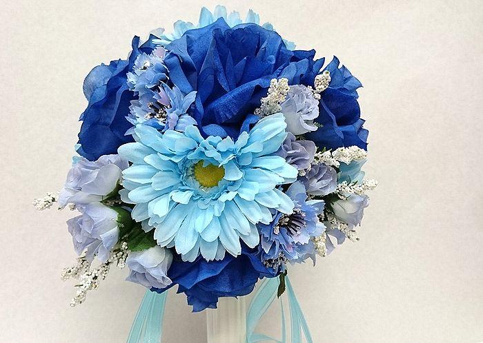 ブートニアも無料でお付けいたします 造花で作るウェディングブーケ 永遠に思い出を残しませんか ウェディングブーケ ブルー206 激安☆超特価 結婚式 ウェディング ブートニア アウトレット ブライダル トスブーケ ブーケ 二次会