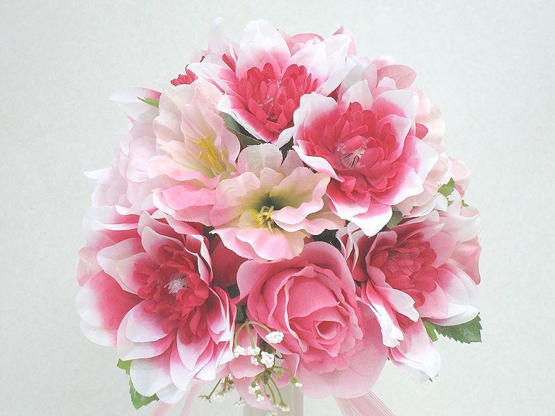 ブートニアも無料でお付けいたします 造花で作るウェディングブーケ 永遠に思い出を残しませんか 超激安特価 ウェディングブーケ ピンク234 結婚式 ブーケ ブートニア トスブーケ 二次会 並行輸入品 ブライダル ウェディング