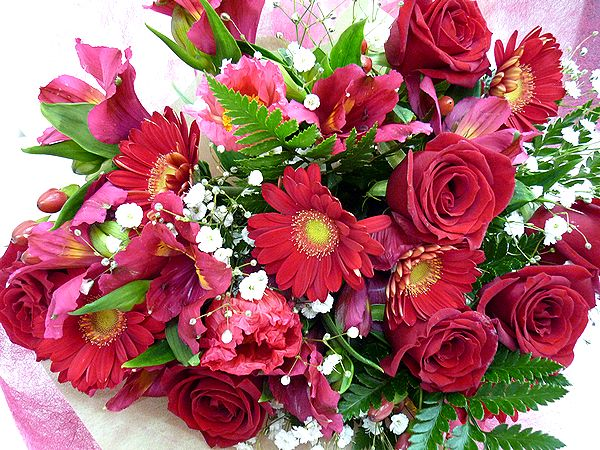 キュートでおしゃれな ラブリーブーケ 愛らしいお花をもらったら 自然と笑顔がこぼれちゃいそう 季節のお花をいーっぱい詰め込んで素敵なブーケをお届けいたします ラブリーブーケL レッド 花 フラワーギフト 結婚祝い 歓迎 販売 記念日 お祝い アレンジメント NO.2500 還暦 誕生日 送迎 2020新作 退職祝い